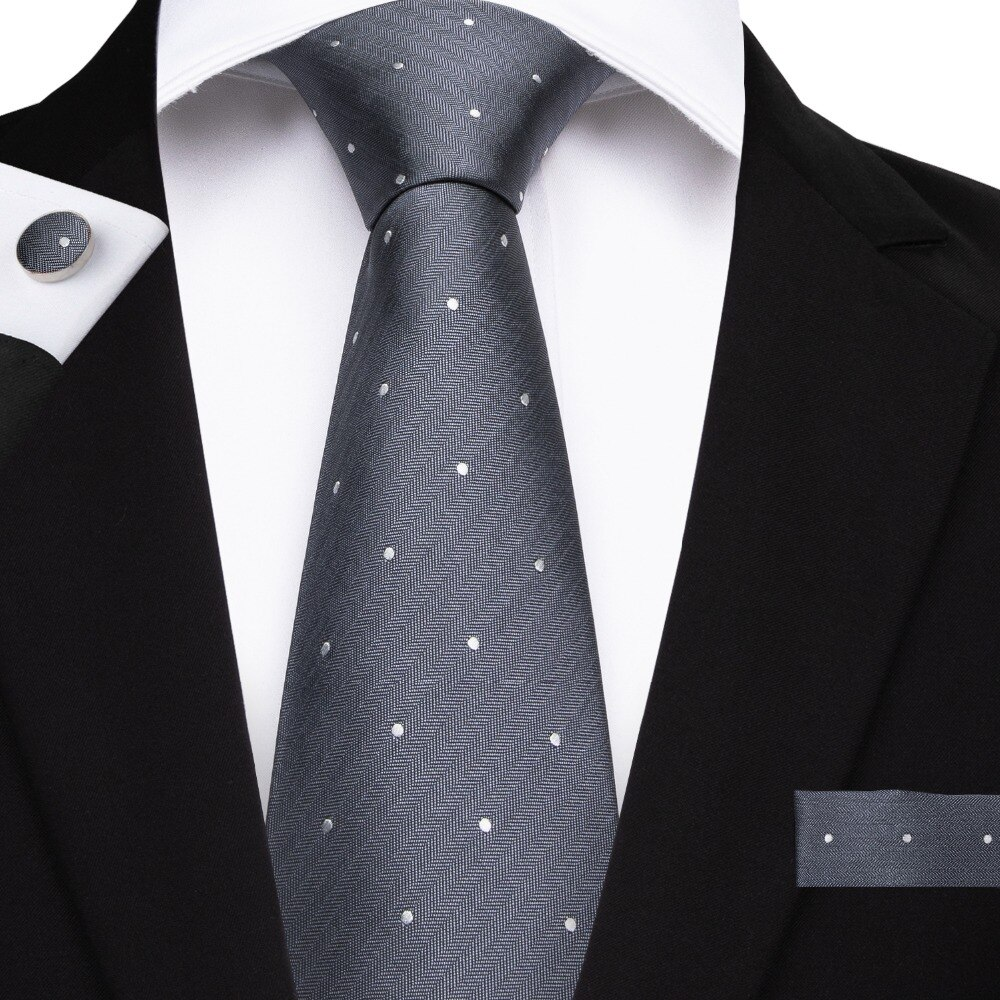 2019 DiBanGu New Gray White Dot Mens Necktie Business Wedding Party Tie Set 8cm Wide For Men Hanky Cufflinks Ties MJ-7150