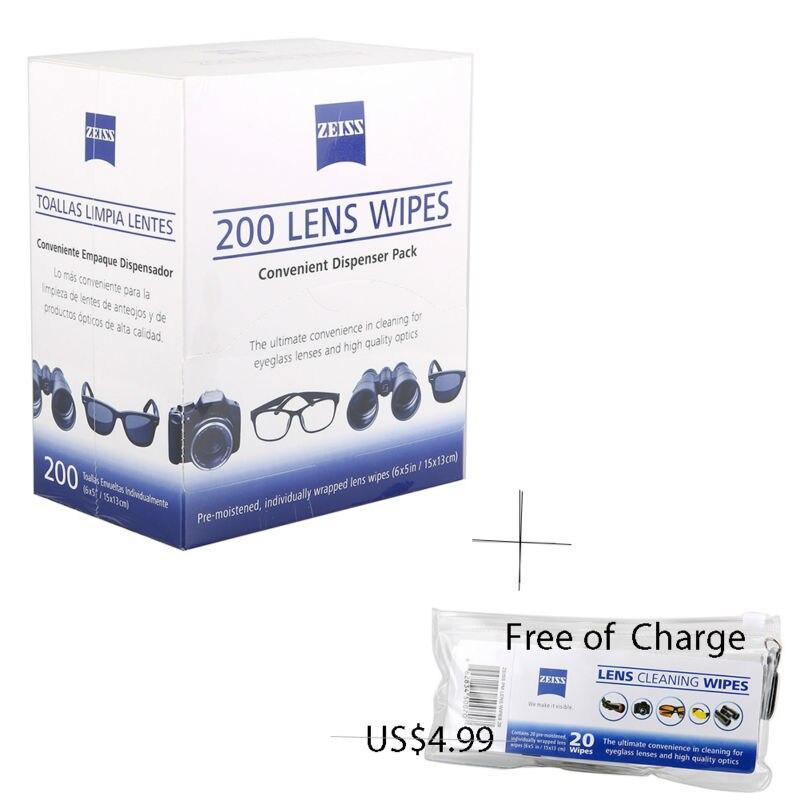 "Zeiss lente limpeza 220 toalhetes óculos de olho computador tela óptica lense cleaner 6 ""x 5"""