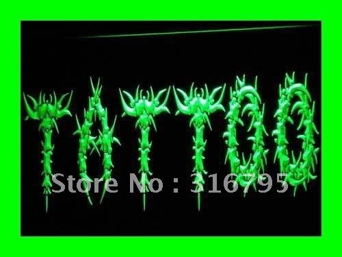 I294 открытый тату боди арт Логотип Магазин светодиодный неоновый светильник вывески Вкл/Выкл Переключатель 20 + цвета 5 размеров
