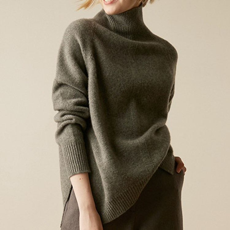 2020 Promotion Limited Solid Full Poncho Jumper Cashmere Sweater High Collar Loose Profile Thick Pullover Women's Fork Knitted enlarge