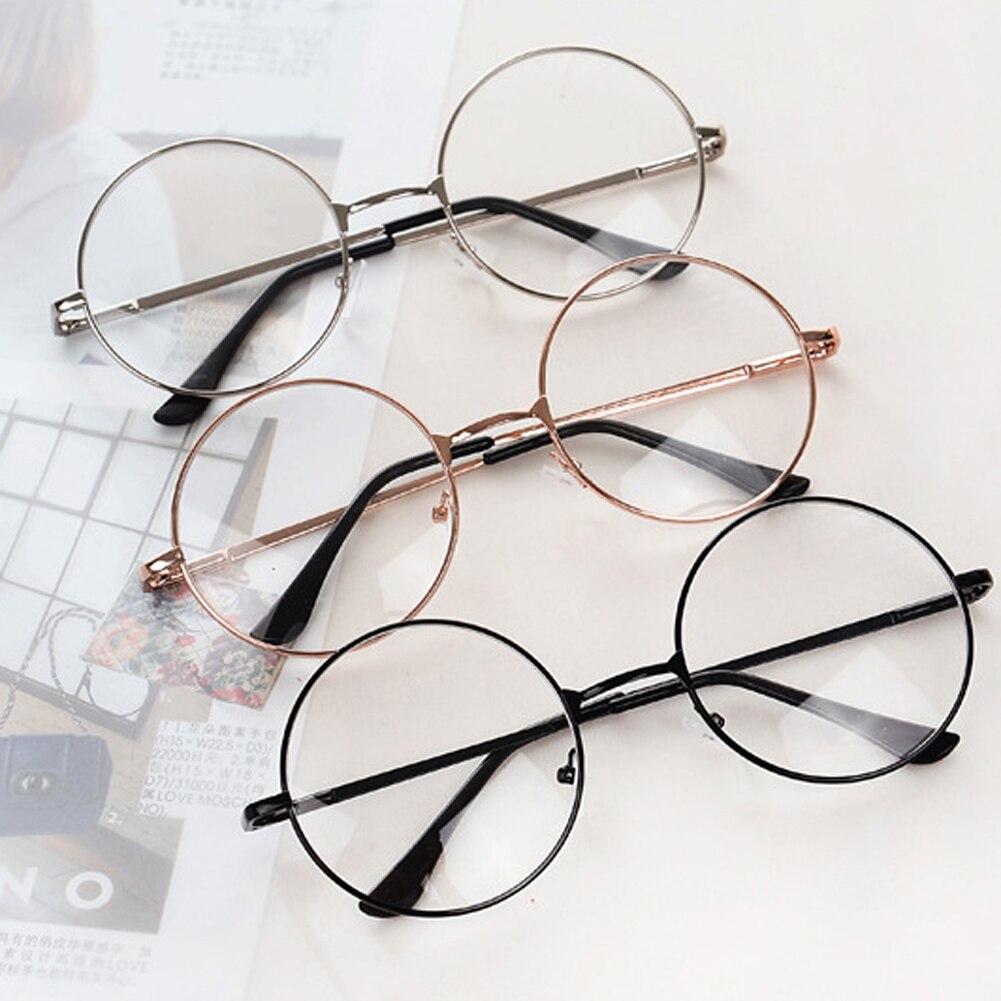 Gran oferta gafas de lectura redondas Vintage marco de Metal personalidad Retro Unisex estilo universitario gafas de lente transparente marcos de gafas