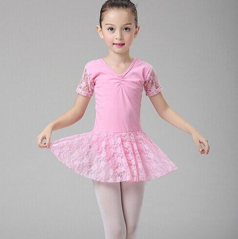 90-150cm pink purple gift lace girl childern exercise Ballet dress Children kid Dance stage performa