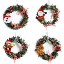15cm Christmas Wreath Decoration for Home Floriation Wall/Door Hanging Snowman Elk Garland for Xmas Tree Window Decor
