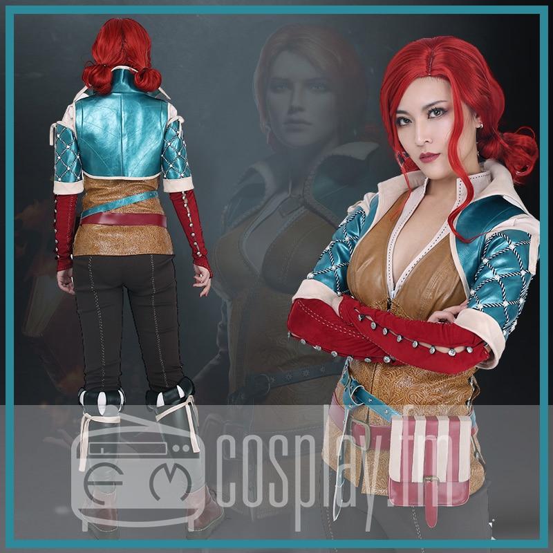 Wild Hunt Triss Merigold Cosplay Costume with belts set
