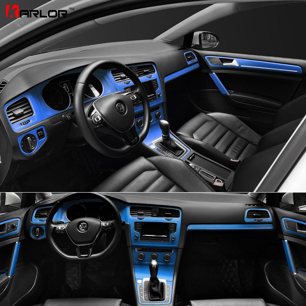 Interior Central Control Panel Door Handle Carbon Fiber Stickers Decals Car styling For VW Volkswagen Golf 7 GTI MK7 Accessories