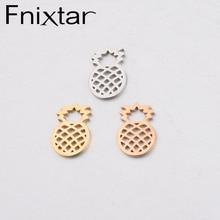 Fnixtar miroir polonais acier inoxydable ananas pendentif à breloques bijoux de fruits pour Bracelet à bricoler soi-même collier 10.4*15mm 20 pièce/lot