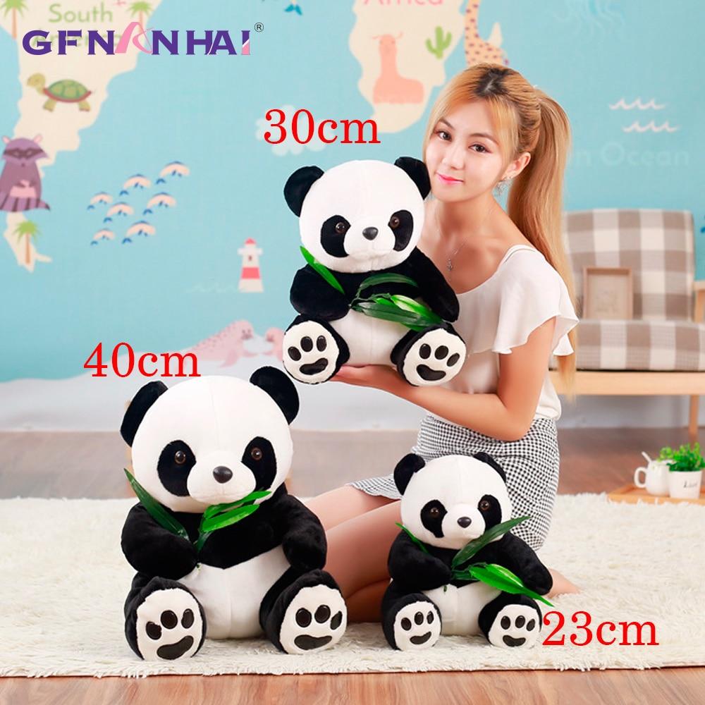 1 шт., плюшевая игрушка большого размера 23/30/40 см с изображением милой панды и бамбуковых листьев, мягкая подушка в виде панды для животных, милые детские игрушки