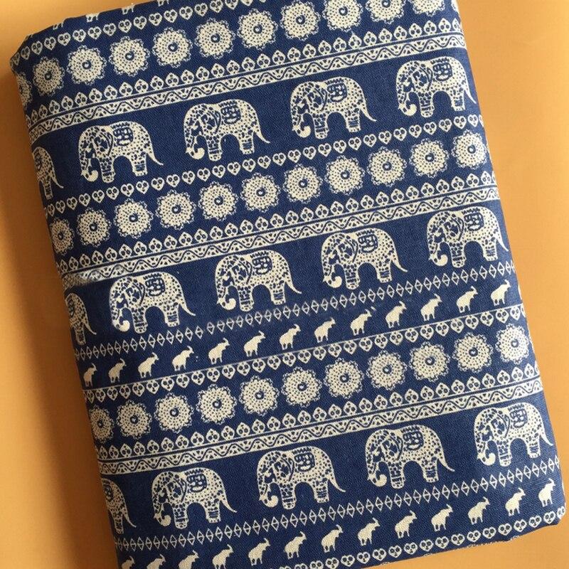 Meter Ethnic Elephant Print Leinen Material Taschen Handwerk Hause Polster Stoff Tiefe Blau