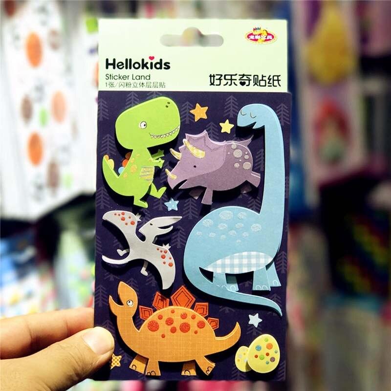 4pcs Kids Funny Sticker 3D Animal Dinosour Book Decoration Paper Stick Flower Owl Sticker Office School Stationery Student Gifts