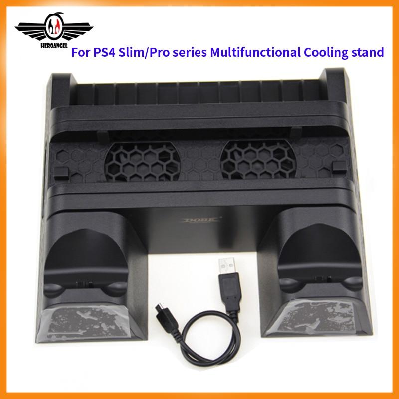 Para PS4/Magro/Pro Cooler, Multifuncional Vertical Cooling Stand, para PS4 Controlador Charger Doca de Carregamento