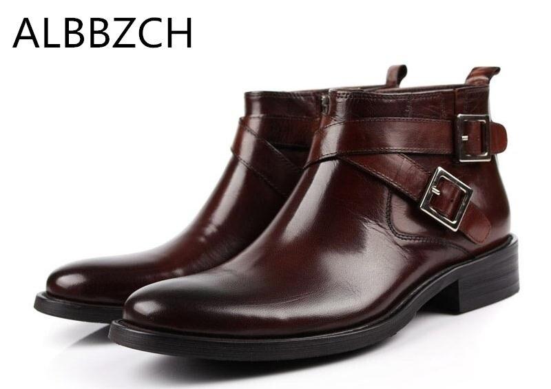 Hommes véritable vache en cuir bottines hommes mode boucle design bout rond zip bureau travail bottes homme haute qualité robe bottes chaussures