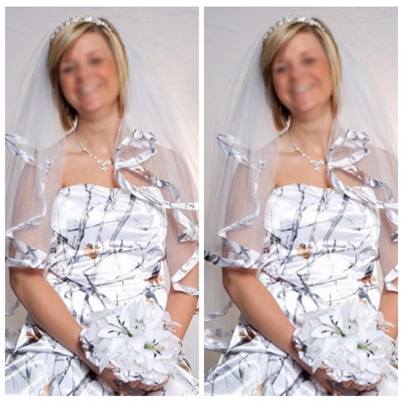 New White Camo Short Bridal Veils Real Tree Edge Elbow Length Camo Ribbon Edge Wedding Veils Hair Pieces With Comb