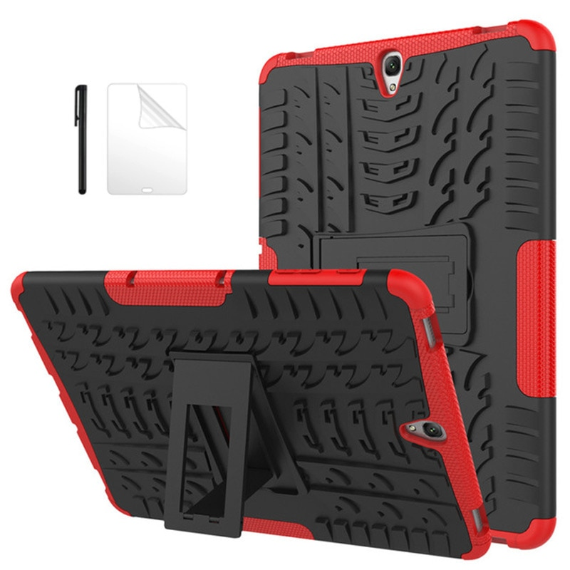 Funda protectora de goma resistente para Samsung Galaxy Tab S3 de 9,7 pulgadas T820 T825, funda trasera con soporte para Samsung Tab S3 9,7, funda + película + bolígrafo