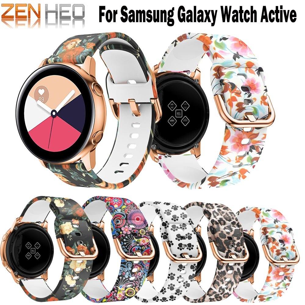20mm Watch Strap for Samsung Galaxy Watch Active Printing Silicone Replacement Band for Samsung Galaxy Watch 42mm Bracelet Wrist аксессуар ремешок samsung galaxy watch 42mm silicone purple et ysu81mvegru