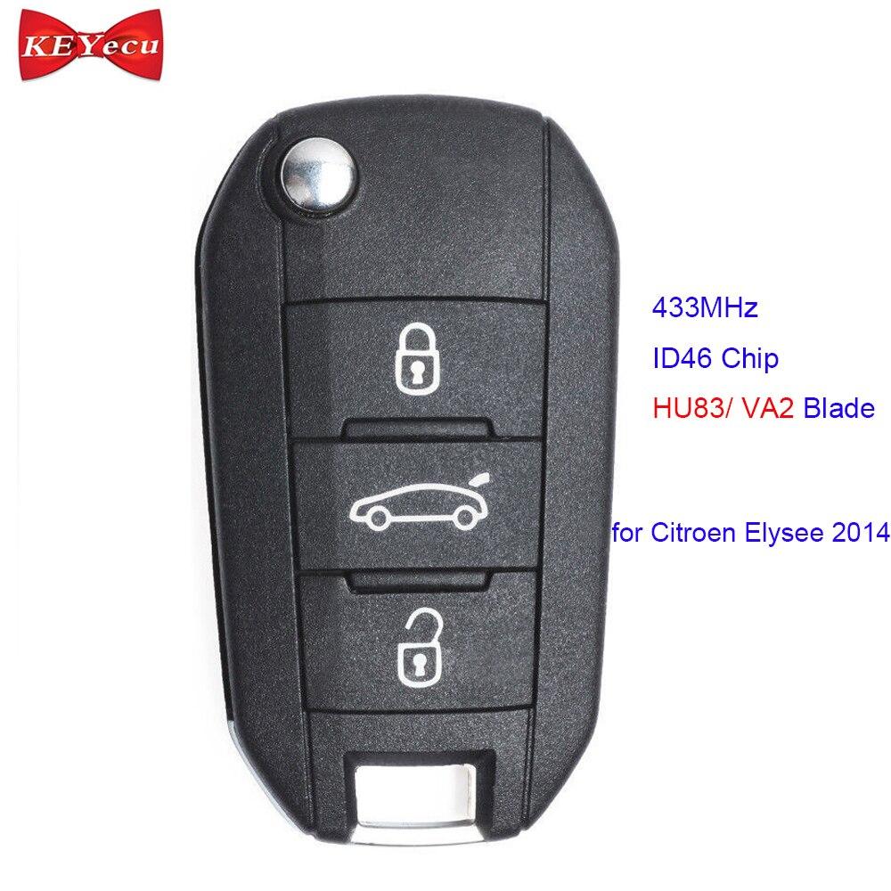 KEYECU para Citroen Elysee 2014 reemplazo de Control remoto de coche 433MHz ID46 Chip HU83/VA2 hoja