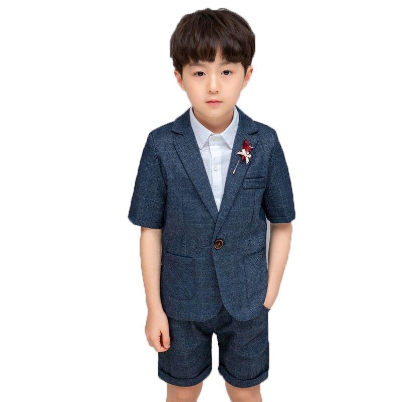 Kids Wedding Formal Suits Gentleman Blazer Vest Pants Clothing Set Children Pinao Tuxedo Flower Boys School Performance Costume