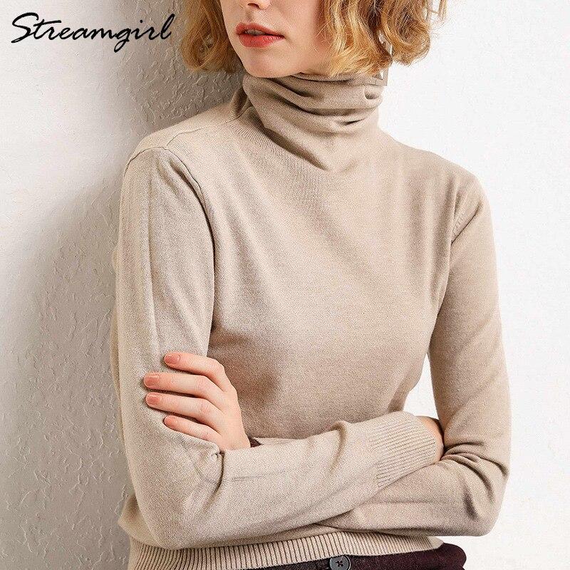 Suéter de cuello alto de Invierno para mujer, jerséis cálidos de lana para mujer, jersey de otoño-invierno 2019, jersey de Cachemira con cuello alto negro