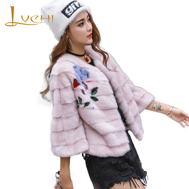 Abrigo de piel auténtica LVCHI 2019 de Invierno para mujer, abrigos cortos con cuello redondo, chal de visón, capa, chaqueta, abrigos de piel de visón con estampado de bordado de cuero