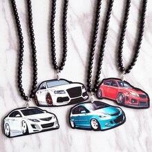 Белый седан, автомобильный модельный знак, двухсторонний, с принтом, подвесное зеркало заднего вида, JDM, украшение, автомобильный модный аксессуар для Audi ABT