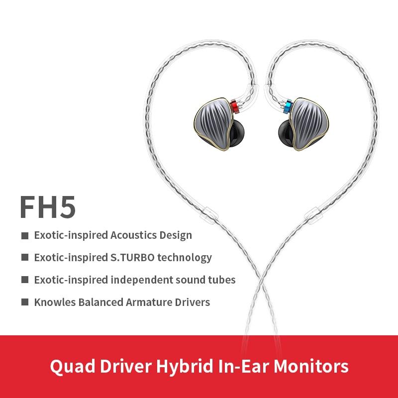 FiiO FH5 металлический чехол Knowles съемный кабель MMCX Дизайн Quad Driver гибридные HIFI наушники 3,5 мм для iOS и Android компьютера ПК