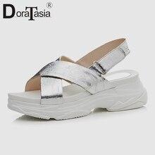DoraTasia 2019 New Fashion Summer Flat Platform Sandals Women Genuine Leather Casual Lady Wedges Light Summer Beach Shoes Woman