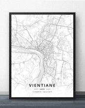 Cartel de mapa de Vientiane Laos