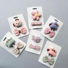 Accessoires cheveux en tissu 2 pièces/lot   Pince à cheveux, motif floral, dessin animé étoile de poisson, pour bébés filles