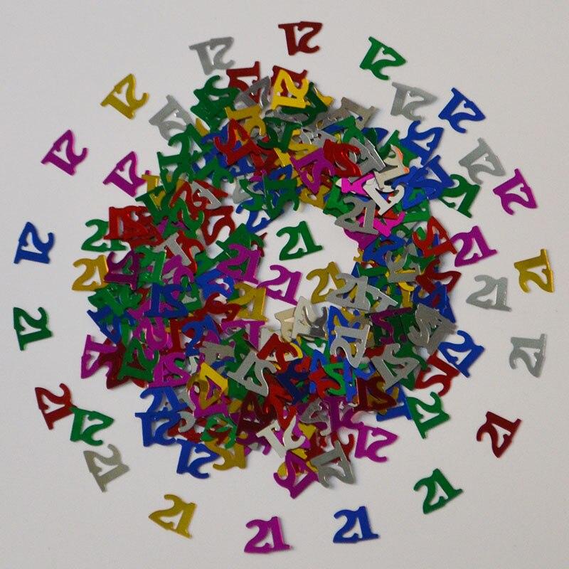 15g Edad 21 años feliz cumpleaños fiesta confeti tabla Scatters número de hoja Digital 21 rosa azul negro plata Glitz Sprinkle