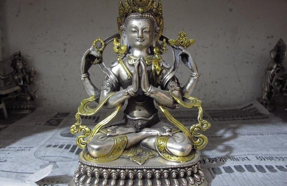 El blanco de plata de cobre Gild cuatro brazos Guan Yin Kwan-yin diosa estatua de Buda