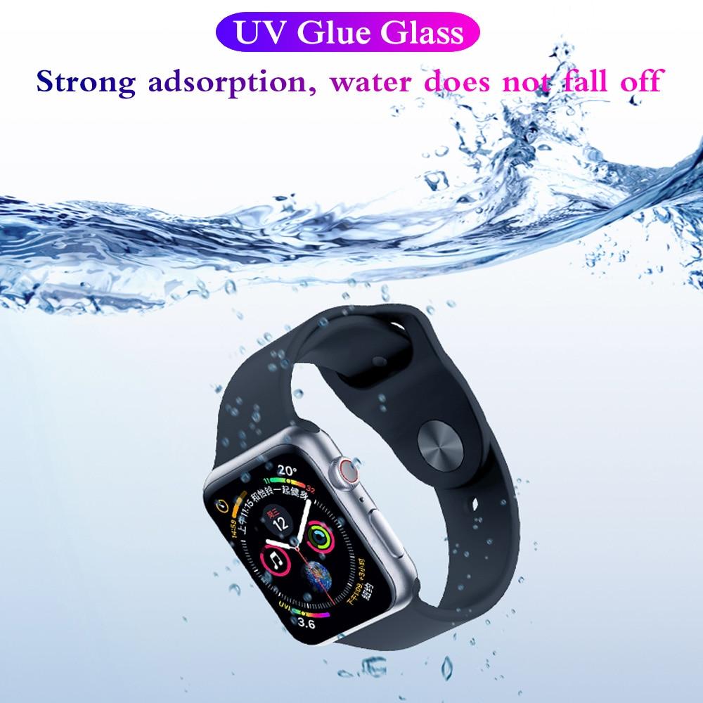 3D Nano líquido de vidrio UV para Apple reloj 40mm 44mm 40 44 pantalla Protector Film para iWatch serie 4 9H HD Vidrio Templado