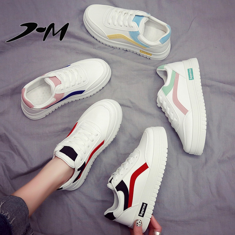 Zapatillas de deporte de marca para mujer, zapatos blancos 2019, nueva versión coreana de primavera, zapatos casuales básicos de fondo grueso zapatos de cuero