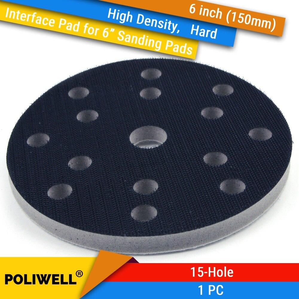 """Almohadillas de interfaz de protección de superficie de esponja dura de 6 pulgadas (150mm) de 15 orificios de alta densidad para almohadillas de lijado de 6 """", accesorios de molino de potencia"""