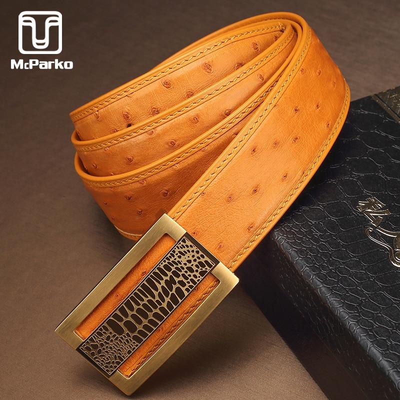 McParko Luxury Ostrich Belt Genuine Leather Men Belts Fashion Brand Automatic Waist Belt Men 2019 Blue Yellow Design Strap Male