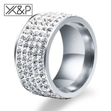 X & P moda encanto 5 líneas de cristal claro anillos de dedo para Mujeres Hombres boda clásica Rhinestone Acero inoxidable anillo de joyería