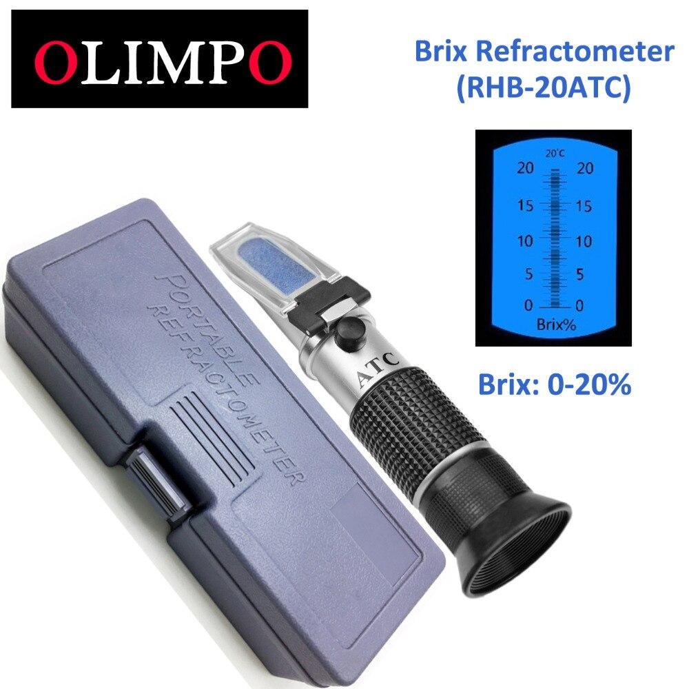 Azúcar refractómetro Brix 0-20% Brix de RHB-20ATC fluido de corte de jugo de azúcar probador de comida de salsa de tomate de bebida suave