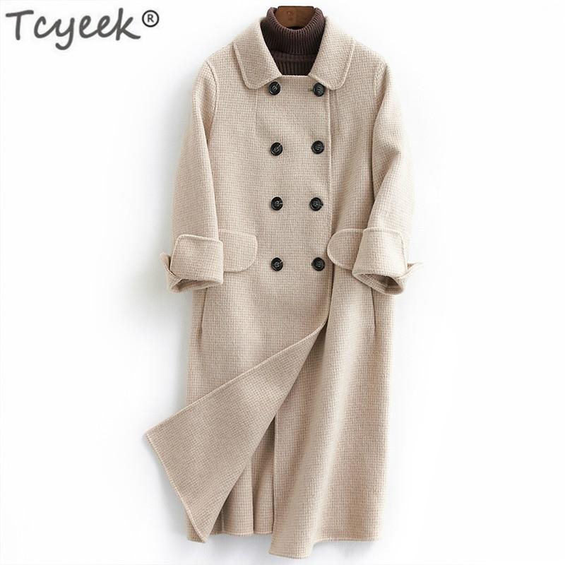 Abrigo de lana Tcyeek para otoño e invierno, abrigos de doble botonadura para mujer, chaquetas largas de Alpaca con un lado de lana, abrigo rosa de primavera LWL1314