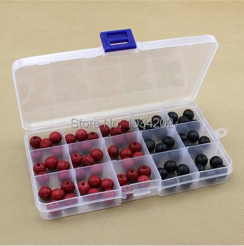A través de DHL/Fedex, caja de almacenamiento transparente de plástico vacía de 15 compartimentos para joyería, organizador de contenedores de decoración de uñas, 200 piezas