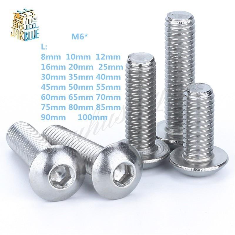 M6 Bolt A2-70 Button Head Socket Screw Bolt SUS304 Stainless Steel M6*(8/10/12/14/16/20/25/30/35/40/45/50/55/60~100) mm