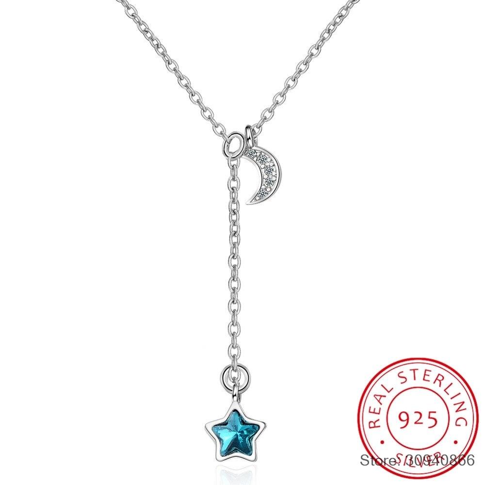 Simple moda azul cristal Luna estrella borla 925 Plata de Ley Collar para mujer collar clavícula kolye