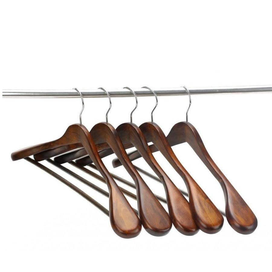 Hangerlink bardzo szerokie wieszaki na garnitur, drewniane wieszaki na ubrania do kolekcji szafek, wykończenie w stylu Retro (5 części/partia)