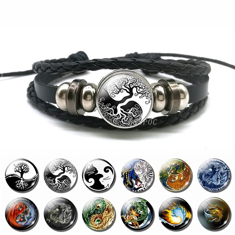 Moda yin yang charme pulseira vida da árvore gato tai chi yin yang pingente multi-camada trançado pulseira masculino feminino vintage jóias