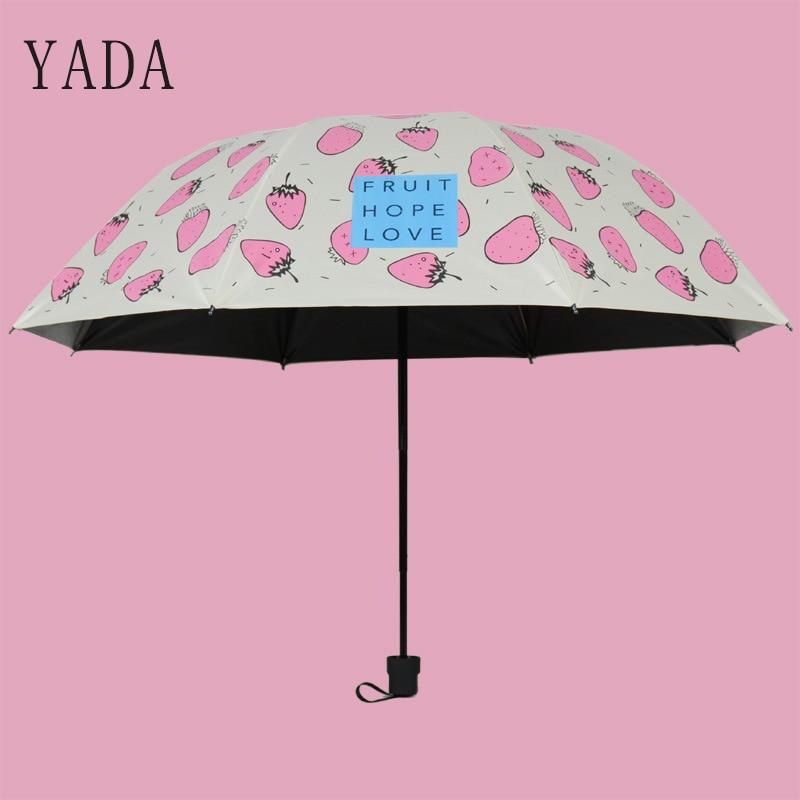 Morango dos Desenhos Padrão de Chuva Qualidade para Mulheres Chuvas à Prova de Vento uv de Alta Yada Encantos Animados Mulheres Guarda-chuva Dobrável Ys269