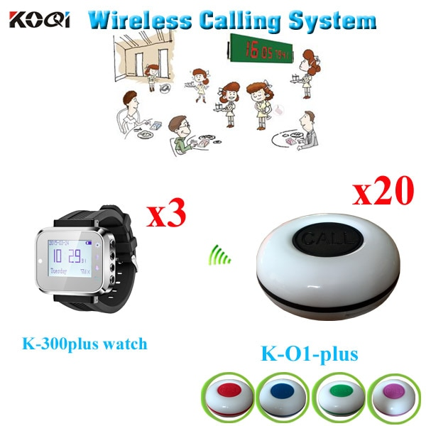 Wireless Buzzer Calling System With 3 pieces Watch Receiver And 20pcs Waterproof Calling Bell Suit For Restaurant Hotel