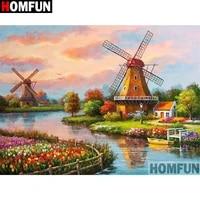 HOMFUN     peinture diamant theme  paysage du moulin a vent   cadre carre et rond  broderie complete 5D  decoration dinterieur  artisanat  A10028