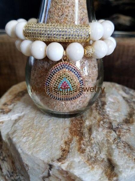 Pave zircon Tube Stretch Bracelet,Boho ceramics Beads Charm boho Bracelet
