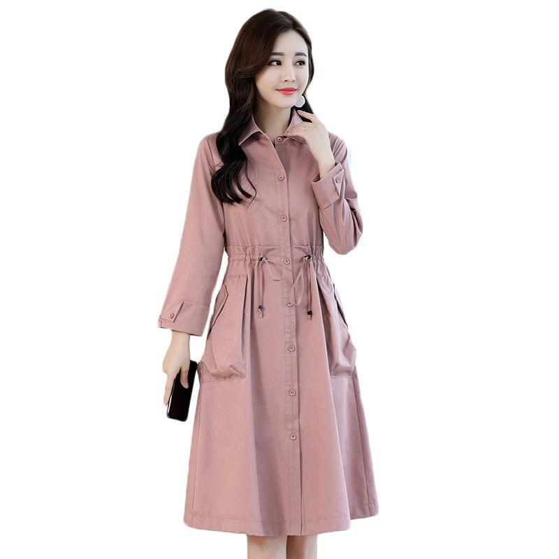 Plus Size Solid Color Long Trench Coat Women's Blusa 2019 Spring Autumn New Korean Cazadora De Mujer Windbreaker Chaquetas f336