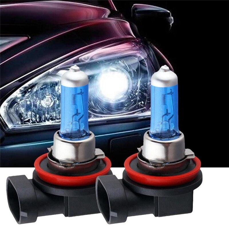 WUPP luz del coche 2 uds H11 de halógeno de 100W Luz brillante blanco bombillas de faro delantero de coche 6000K de la lámpara de xenón 12V mar19