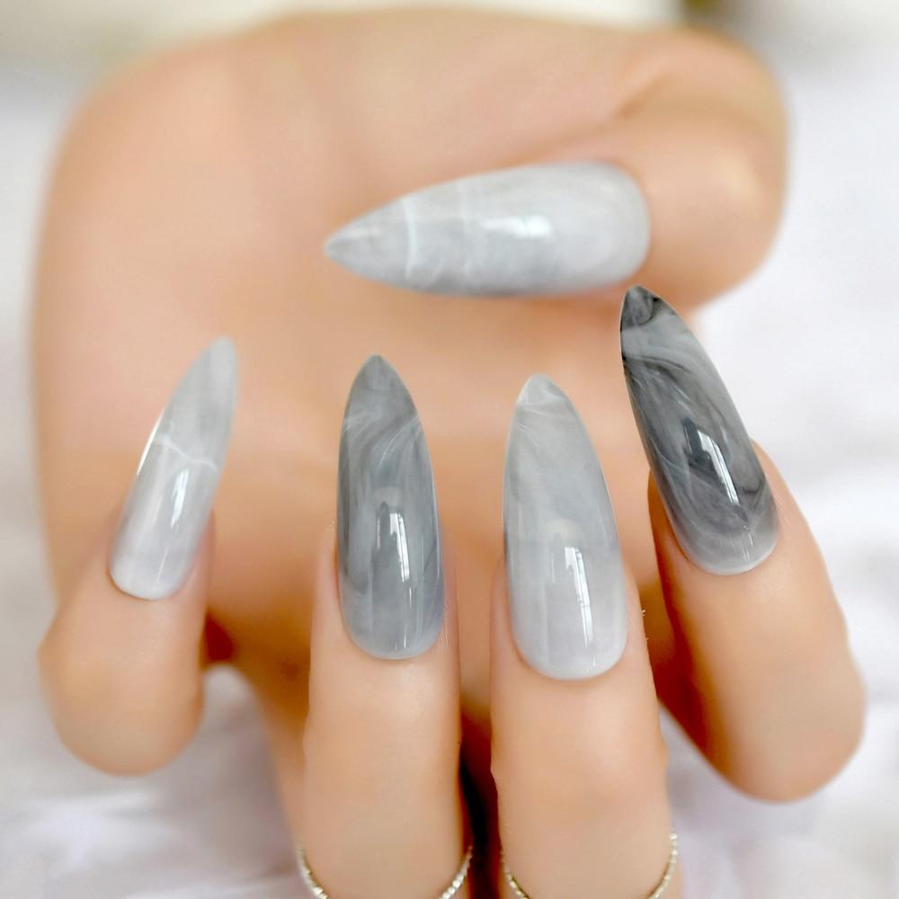 Uñas falsas de mármol gris Stiletto Extra largas patrón de piedra puntiagudo brillante largo prensado en uñas falsas para dedo 24 unidades