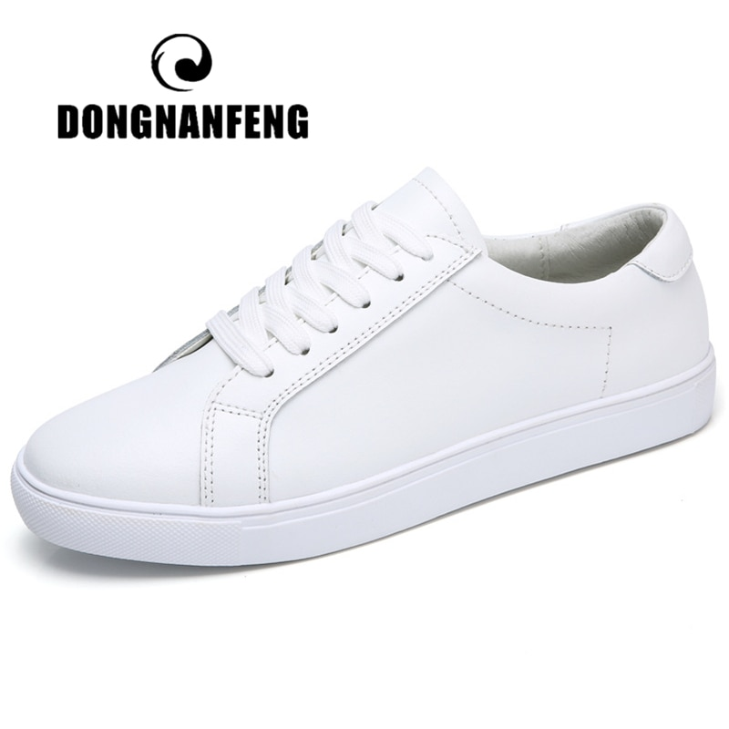 Dongnanfeng feminino senhoras menina estudante de couro genuíno sapatos brancos apartamentos rendas acima sapatos vulcanizados macios coreano 35-40 MF-863