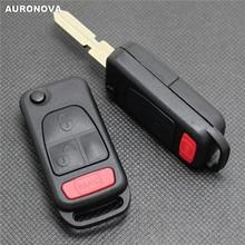 AURONOVA 메르세데스 벤츠 C E S ML W140 2 + 1 버튼을위한 새로운 접이식 키 쉘 교체 Uncut Brass Blade 원격 자동차 키 케이스